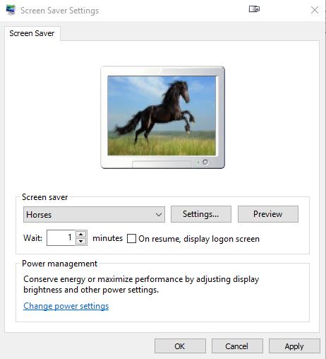 change windows screen saver