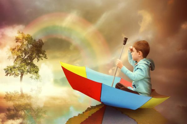 Over the rainbow in an umbrella.